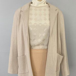 Wool/Cotton Magaschoni Open-Front Knit Cardigan